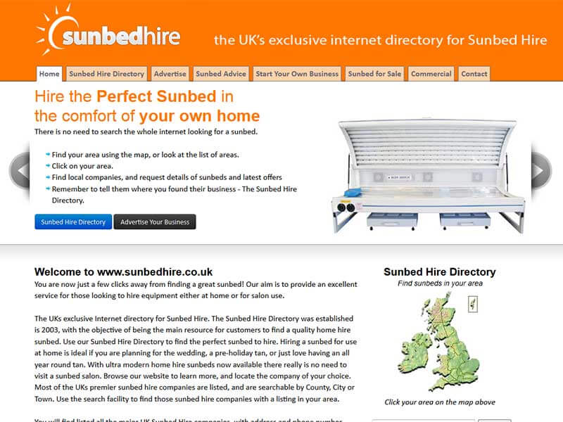 Sunbed Hire Directory
